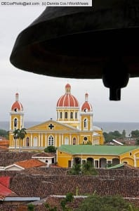 Nicaragua: Colonial Granada Cathedral from La Merced Church bell tower