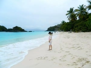 The lovely long beach at Trunk Bay