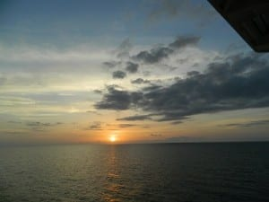 A beautiful sunset as we departed Nevis
