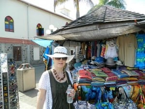 Pam shopping at the tourist market