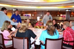 Everyone gathers in the dining room of the Crystal Serenity to taste the dish they prepared!   A fun event for all