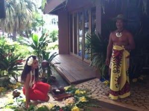 French Polynesia Tahiti natives at craft shop