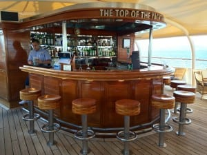 The Top of the Yacht bar is a popular gathering spot