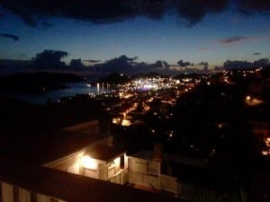 The twinkling lights of Charlotte Amalie as viewed from the terrace of the Inn at Blackbeard's Castle