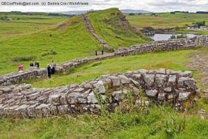 Milecastle 42 of Hadrian's Wall Roman ruin at Cawfields quarry in Northumberland National Park