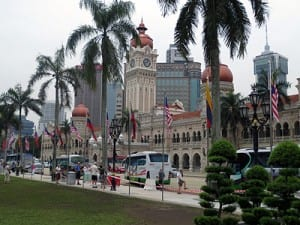 Street scene at Kuala Lumpur's Merdeka Square