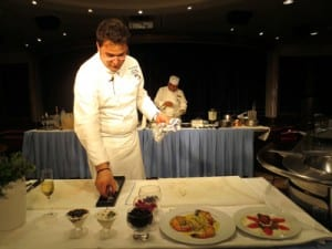 Chef Alban displays his Italian dishes at cooking demo