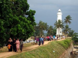 Holiday visitors strolling atop the Ramparts of the Dutch Fort in Galle