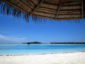 The beach and water at Dhonveli, Maldives