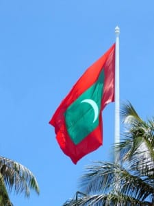 The Maldives Flag flies at Republic Square in Male