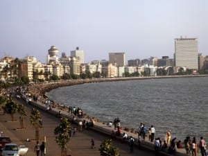 Bombay's waterfront Marine Drive, also known as the Queen's Necklace