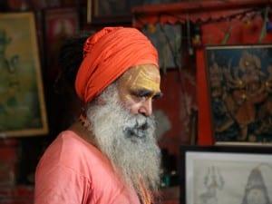 Hindu Holy Man at Bombay's Babulnath Temple, dedicated to Shiva