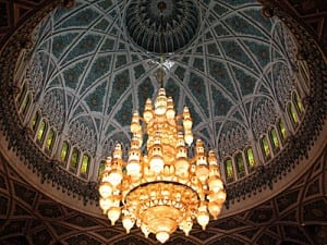Ceiling of men's prayer room at Muscat's Grand Mosque