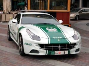 Dubai police cruiser: Note the Ferrari badge on grill