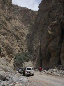 Our convoy stopped in deep, narrow canyon, Hajjar Mountains, Oman
