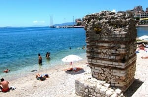 Roman ruins on Saranda beach