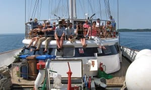 Passengers aboard our small sail ship