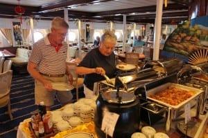 A luncheon buffet onboard Star Flyer.