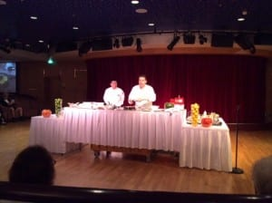 Jon Ashton gives a cooking demonstration