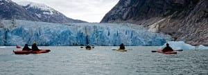 Kayakers off the Safari Explore paddle to within a half-mile of Dawes Glacier