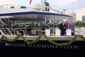 Australian television personality Deborah Hutton christened Avalon Waterways' newest river cruise ship – the Avalon Illumination – at a ceremony in Vienna (Photo courtesy of Avalon Waterways)