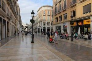 Marble-paved Calle de Marques Larios is Malaga's main shopping street, Malaga, Spain.