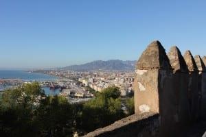 View of Malaga from Gilbafaro Castle, Malaga, Spain.