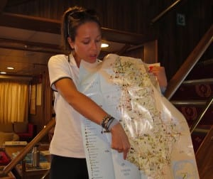 Ninna Durinec, cruise co-ordinator, explains our next port of call.