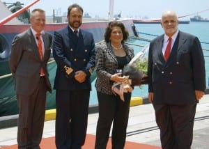 Pictured L to R are: Steve Odell, President, Europe & Asia Pacific, Silver Discoverer Captain Luksa Plecas, Godmother Elda Turco Bulgherini & Chairman Manfredi Lefebvre d'Ovidio Photo courtesy of Silversea Cruises