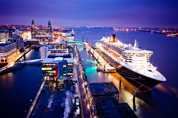 The QM2 in Liverpool- Image courtesy of Cunard