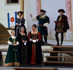 Revelers in Renaissance attire in Cesky Krumlov