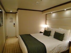 Royal Princess Stateroom Opposite: Looking back towards the entrance of a deluxe balcony room.