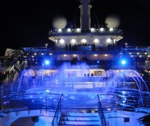 Dancing waters compete with the ocean breeze on the top deck of Royal Princess.