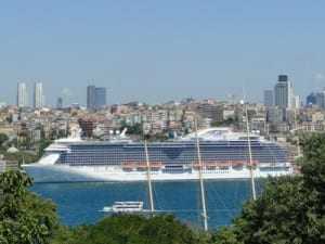 The Royal Princess graces the shoreline of Istanbul.