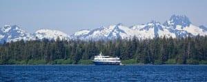 Safari Explorer is anchored along the southeast Alaskan coastline
