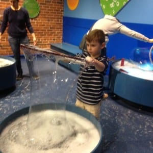 Seely in the Bubbles Room of the Boston Children's Museum
