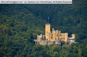 Stolzenfels Castle surrounded by forest and overlooking Rhine River near Koblenz