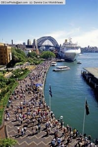 Australia: Sydney's Circular Quay with Harbour Bridge and cruise ship in port