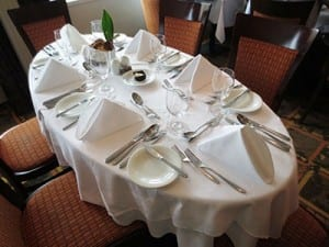 Table set for dinner in AmaDagio's main dining room