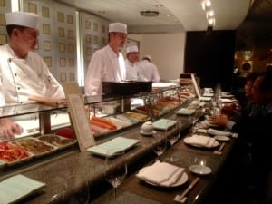 The Sushi Bar at Nobu's Sulk Road restaurant on the Crystal serenity.