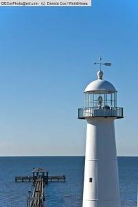 Mississippi Gulf Coast's Biloxi Lighthouse and Lighthouse Pier on Mississippi Sound of Gulf of Mexico.