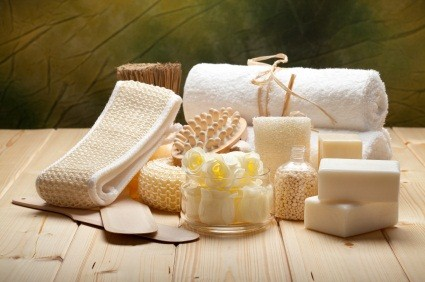 Massage tools, soap, bath salt and towels