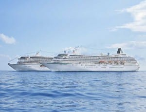 Crystal Serenity and Crystal Symphony at sea together.