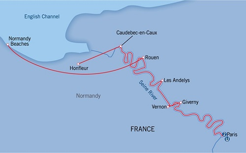 "Itinerary of the ""Paris & Normandy"" cruise- Image courtesy of Uniworld"