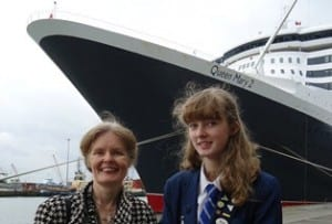 In attendance today was school teacher Jo Laybourne and her 15-year-old daughter Lizzie, a pupil at Upper Shirley High in Southampton who took part in the collection of soil in Belgium. Photo courtesy of Cunard Line