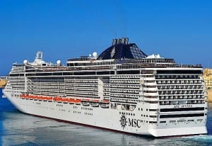 The MSC Divina is welcome to its new home port in Miami.