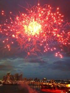 Fireworks over Miami celebrate the MSC Divina's voyage.