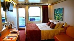 My island-themed cabin aboard the Carnival Magic.