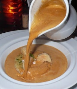 Lobster bisque is thick and creamy but big chunks of lobster.