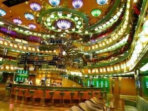 The atrium of the Carnival Magic has a colorful Art Deco feel.